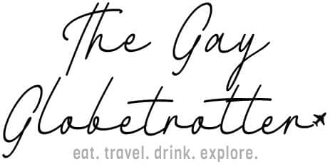 "Mobile Header Logo that reads ""The Gay Globetrotter"""