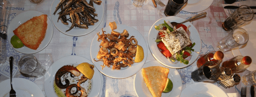 greece food spread in athens