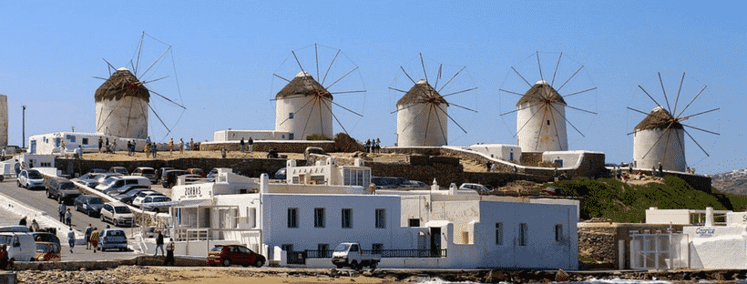 The windmills in Mykonos (Kato Milli)