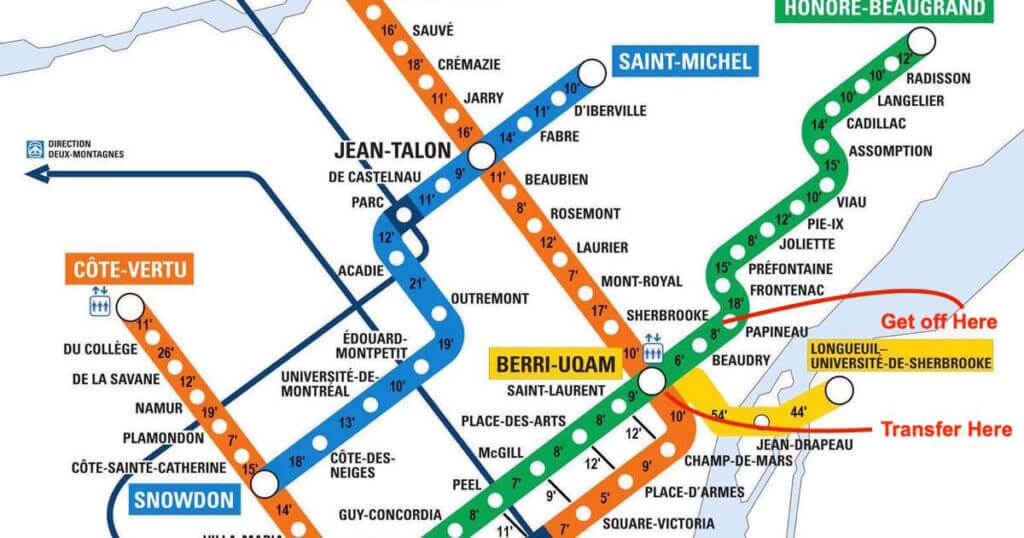 A map of the Montreal metro lines