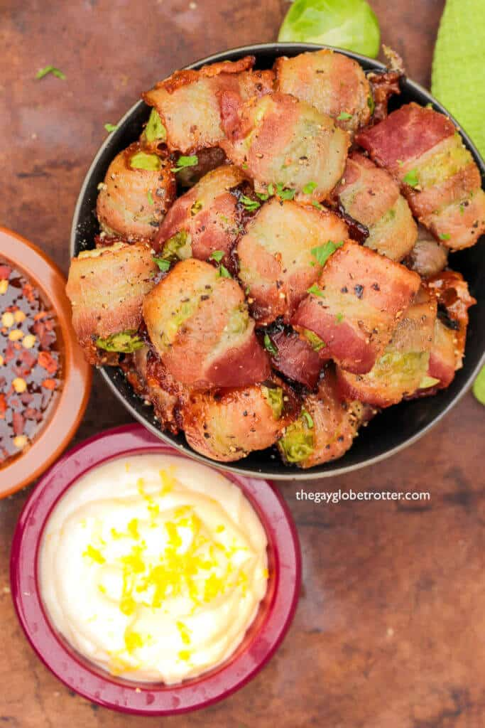 Maple bacon wrapped brussels sprouts