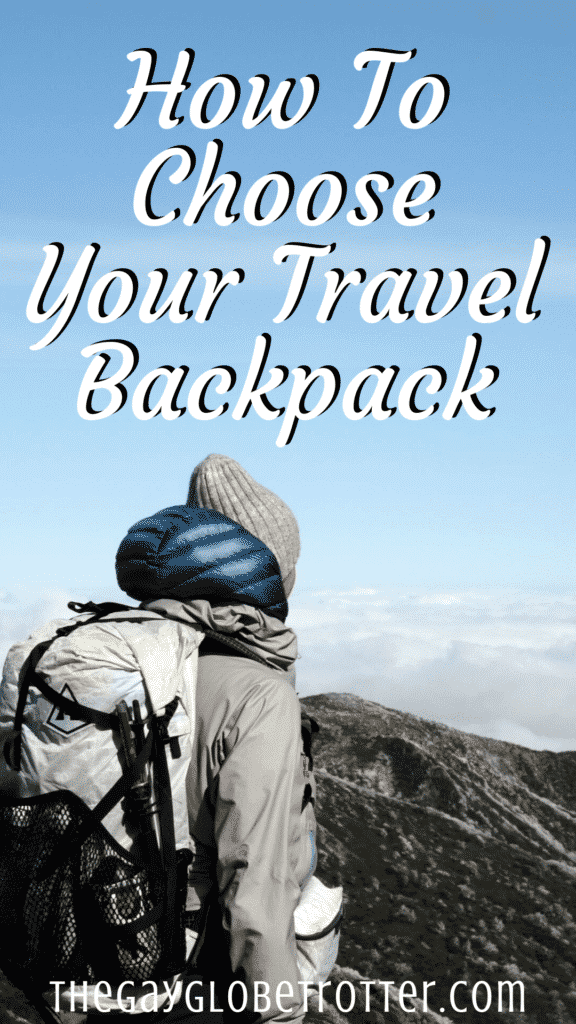 """A woman with a backpack with text overlay that reads """"how to choose your travel backpack"""""""
