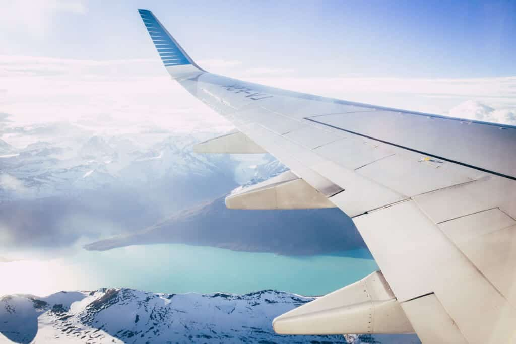 An airplane wing during a flight.