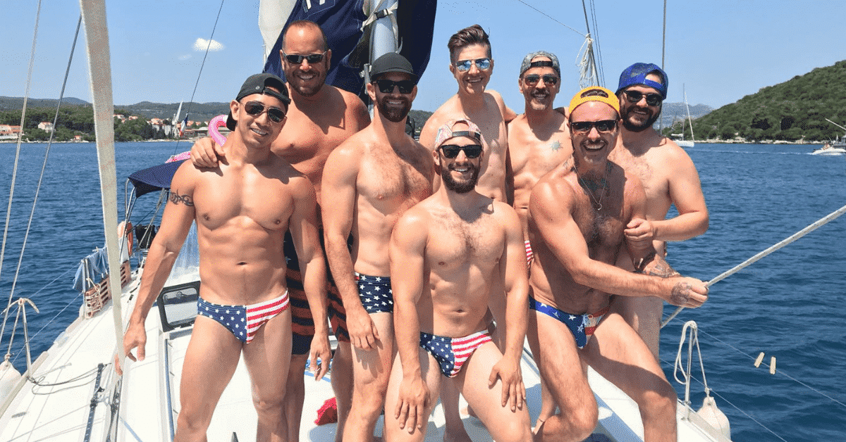 Guys on a gay sailing trip in Mykonos