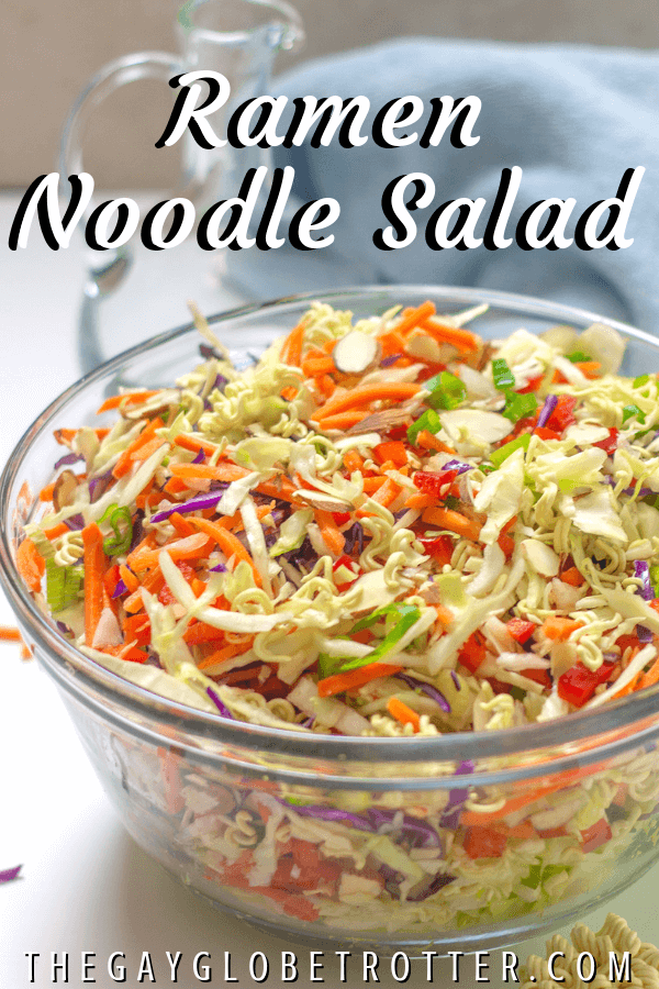 """A bowl of ramen noodle salad with text overlay that reads """"Ramen Noodle Salad"""""""