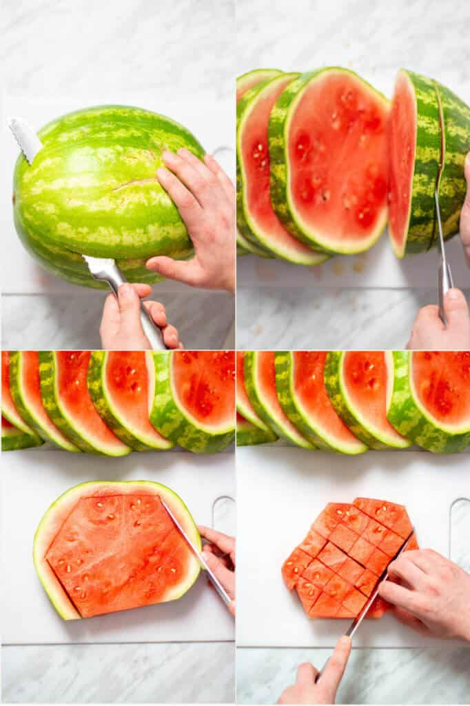 A collage of process shots showing how to cube a watermelon.