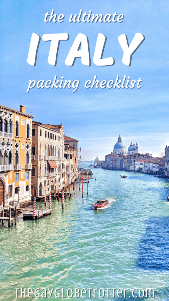 """A photo of Italy with text overlay that reads """"the ultimate Italy packing list"""""""