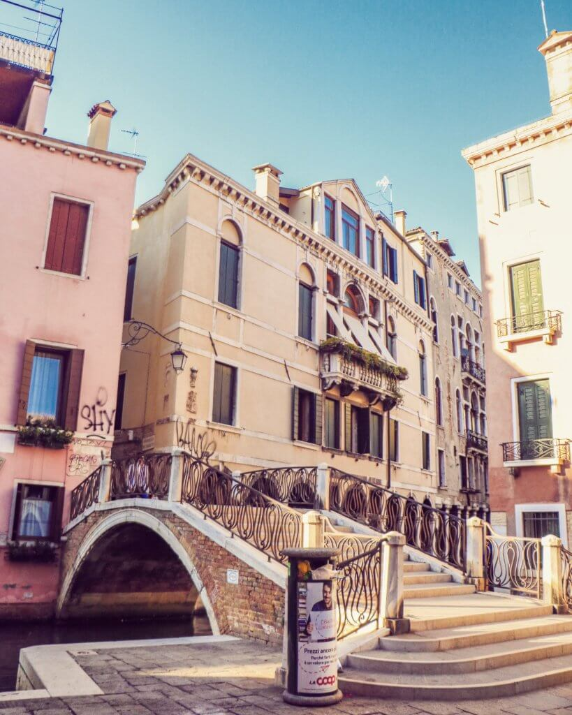 An image of a walkway in Venice.