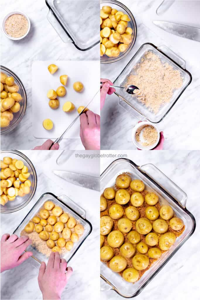 A collage of process shots preparing crispy parmesan roasted potatoes.