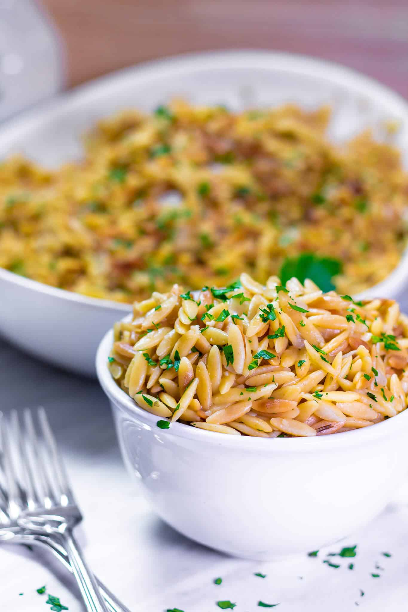 A bowl of rice pilaf with orzo.