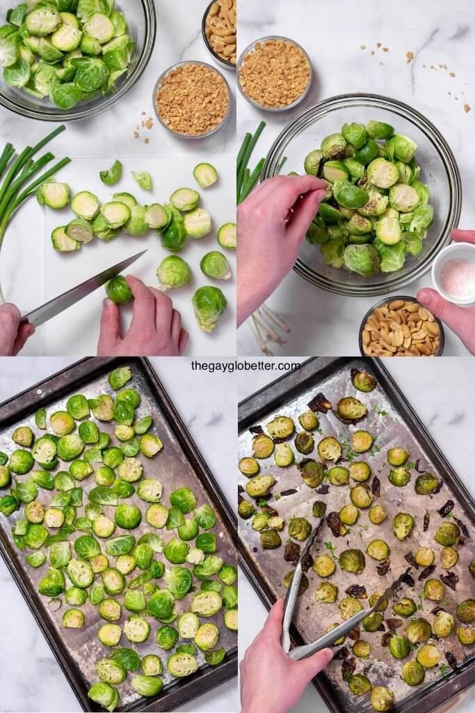 A collage of process shots roasting brussels sprouts.