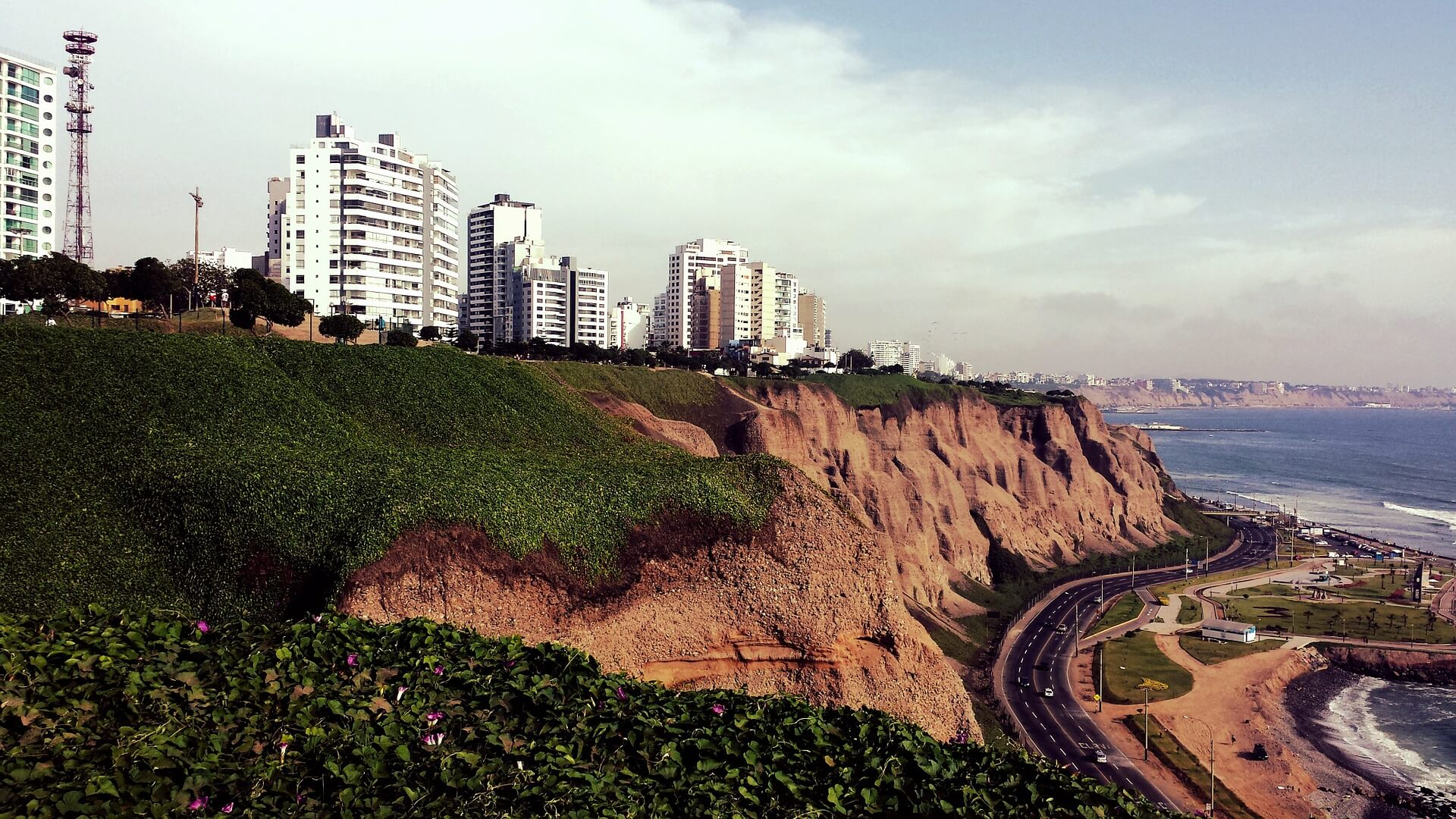 Looking at the Miraflores district from the coastline