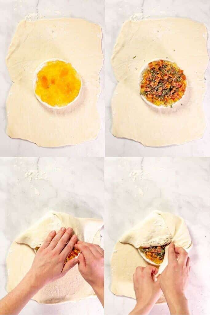 4 process shots showing how to assemble brie en croute.