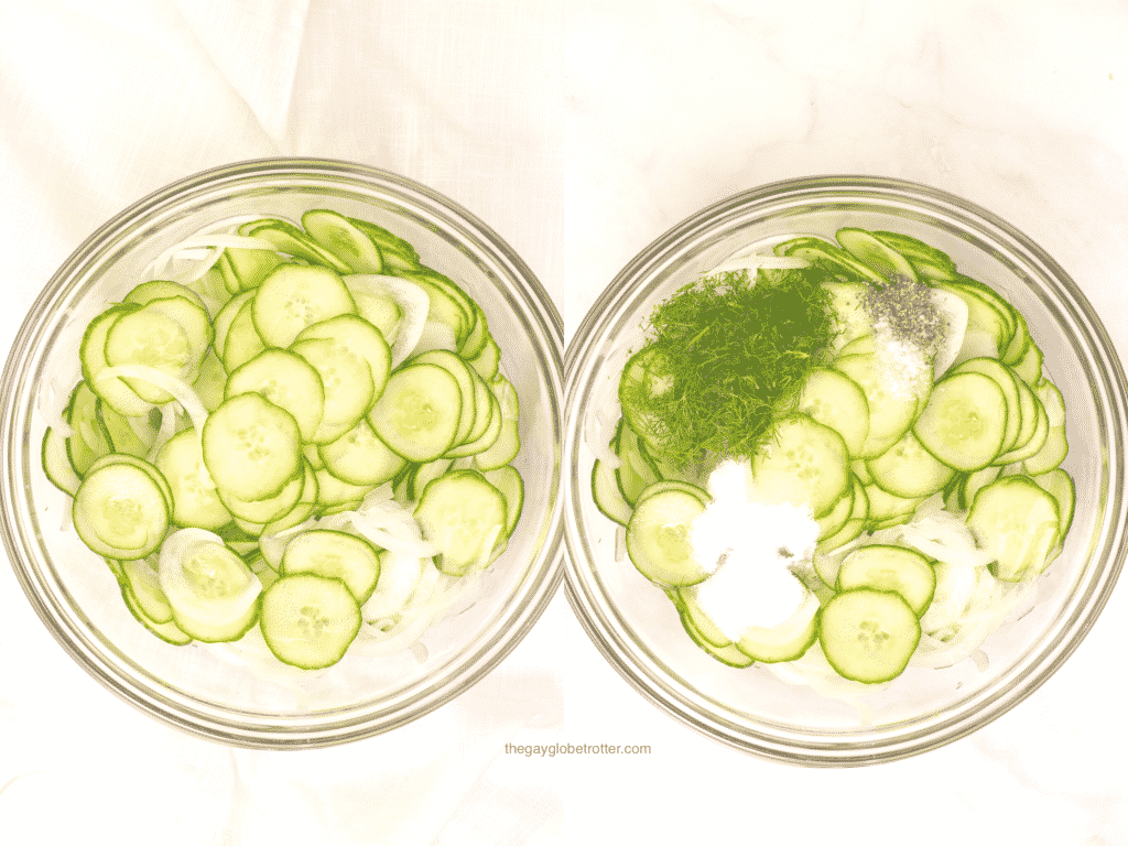 A collage of 2 process shots showing cucumber vinegar salad ingredients being mixed together.