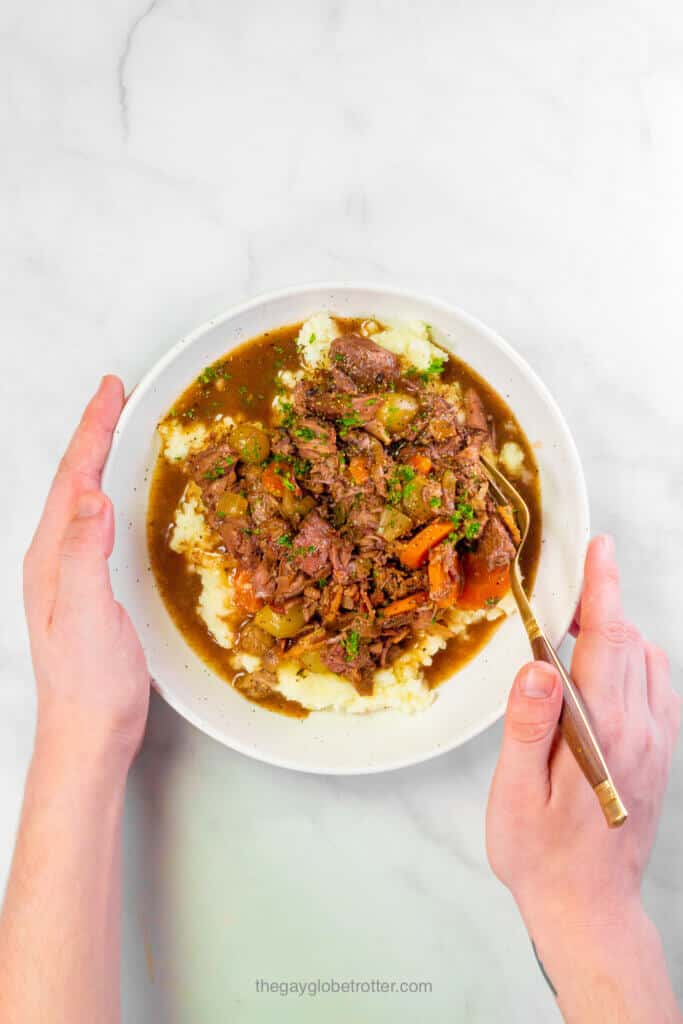 Hands holding a bowl of slow cooker beef bourguignon.