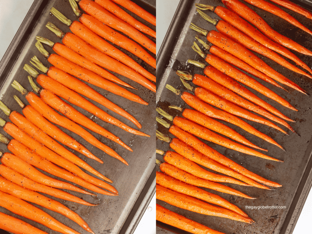 A roasting pan with raw carrots, and a roasting pan with roasted honey glazed carrots.