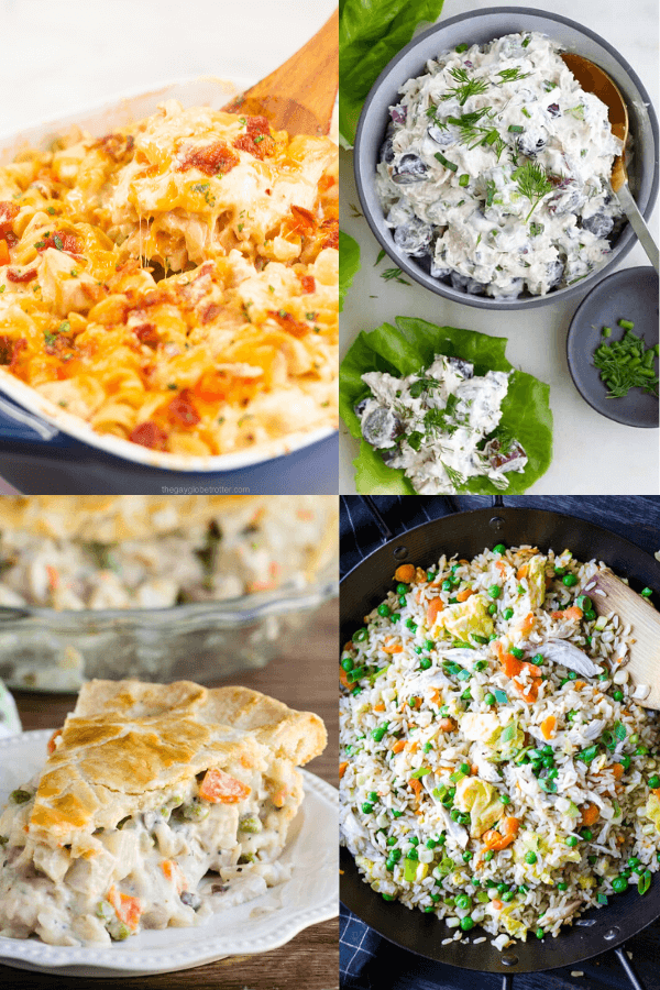4 images of recipes using leftover rotisserie chicken.