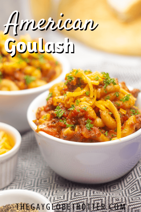 A serving bowl of american goulash.