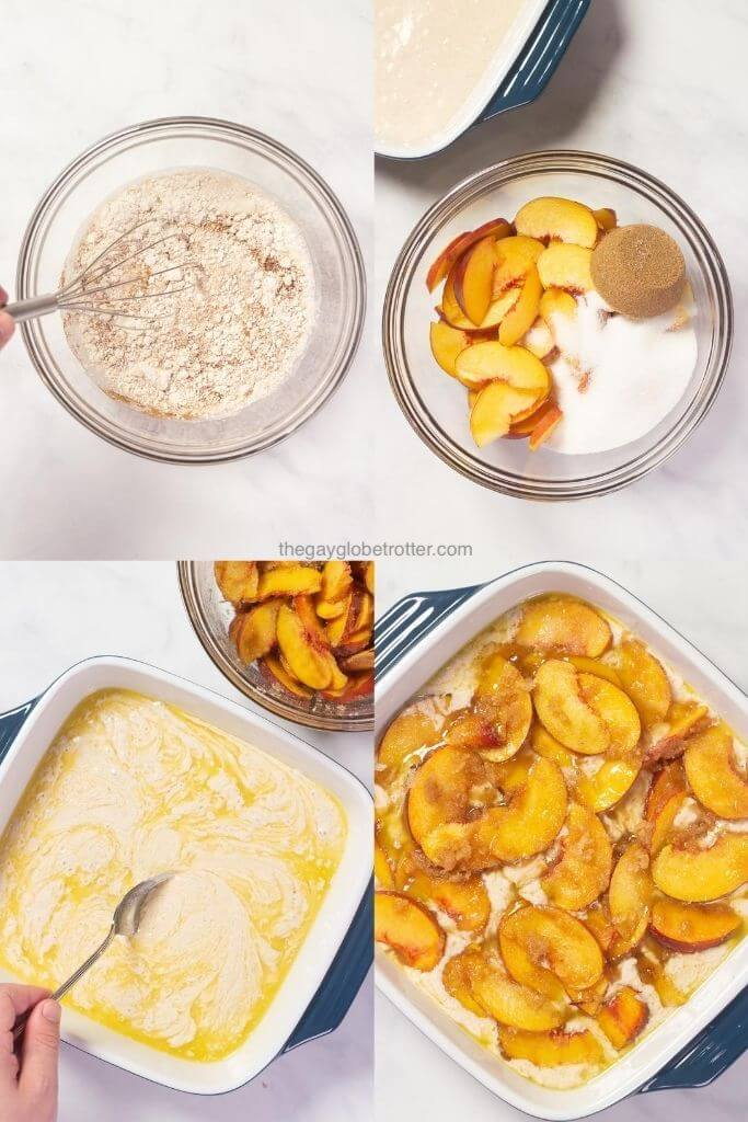 4 process shots showing peach cobbler being made in a casserole dish.