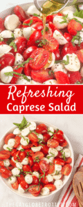 Multiple images of caprese salad being served.