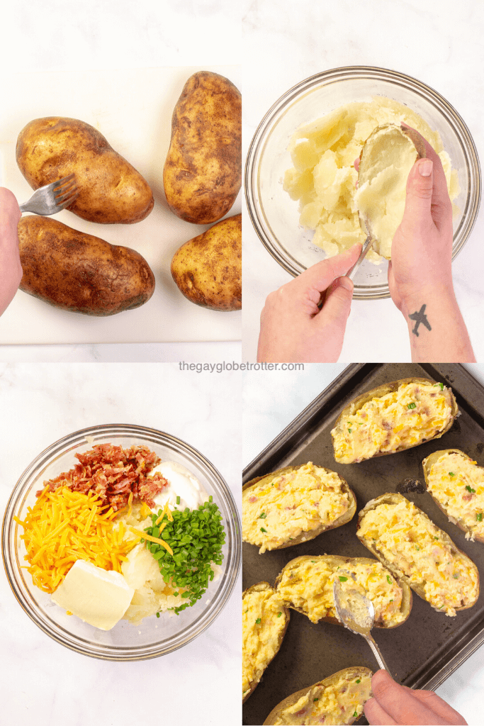 4 images showing the process of making twice baked potatoes including adding toppings, and refilling the potato skins.