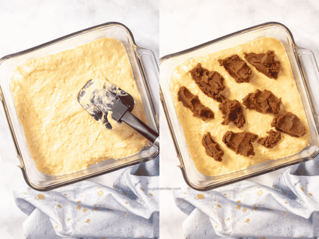 2 images showing cake batter being added to a baking dish.