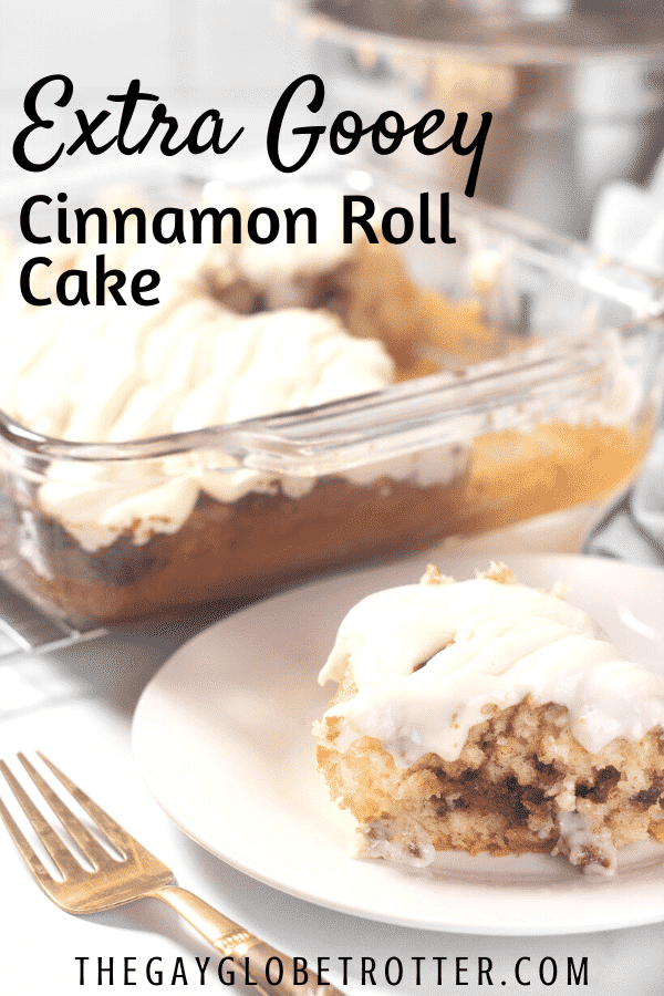 "A plate of cinnamon roll cake with text overlay that reads ""extra gooey cinnamon roll cake"""