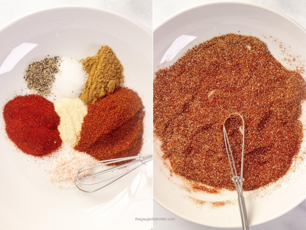 Spices being combined in a white bowl for fajita seasoning.