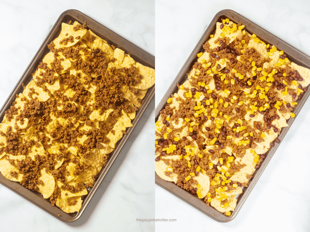 Two process shots showing ground beef, beans, and corn being added to nacho chips.