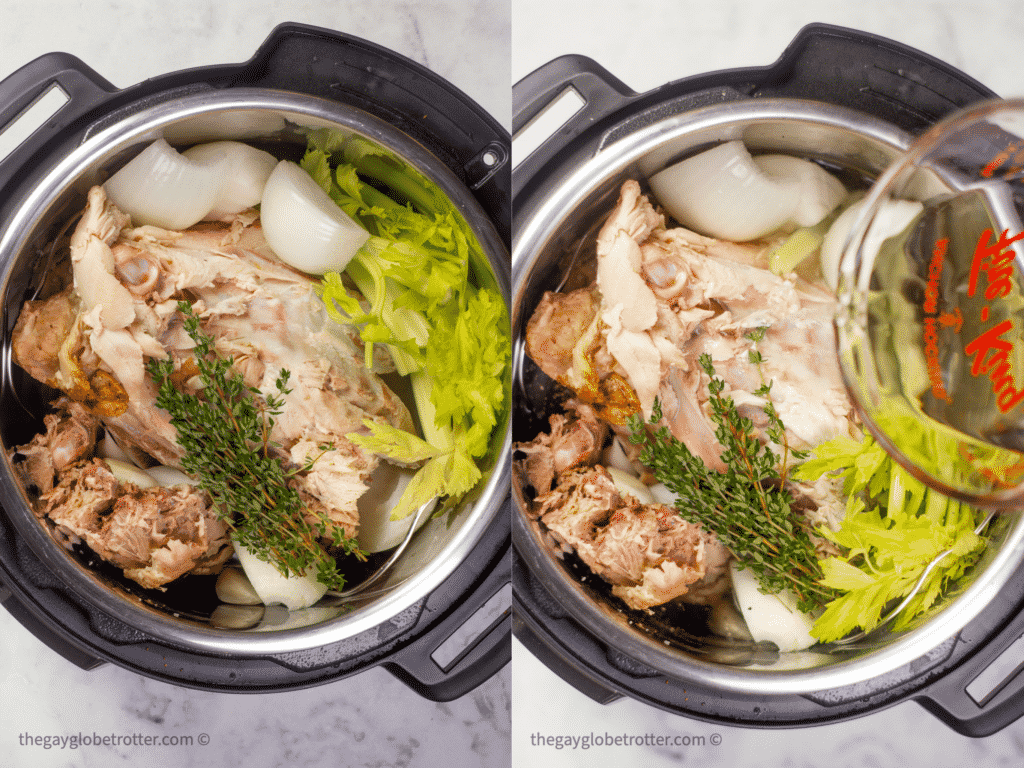 Two process shots showing the turkey stock ingredients in an Instant Pot.