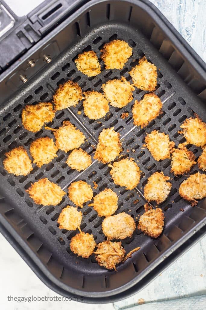 Air fryer pickles in the air fryer.