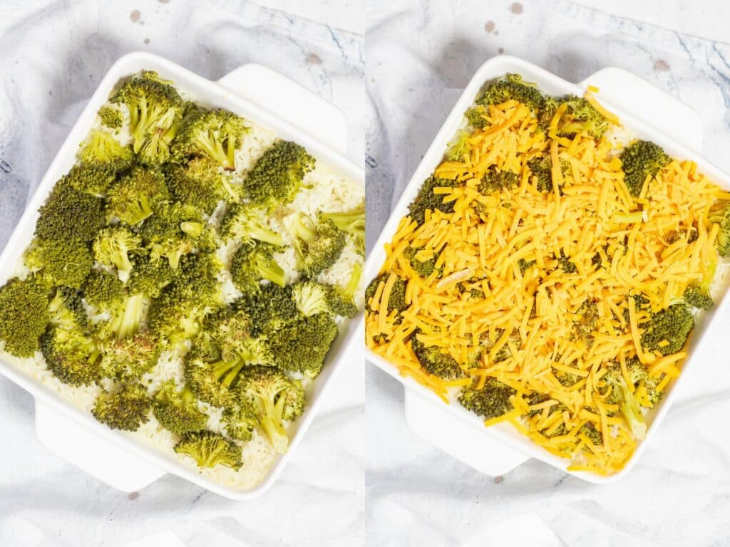 Broccoli and cheese being added to a casserole dish.