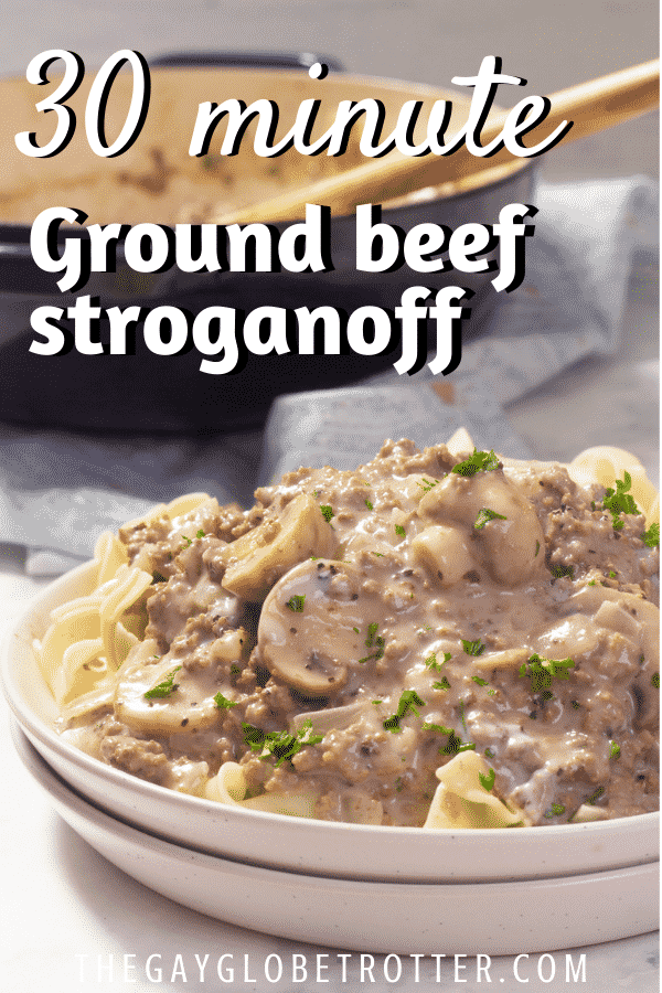 Ground beef stroganoff on a plate with egg noodles.