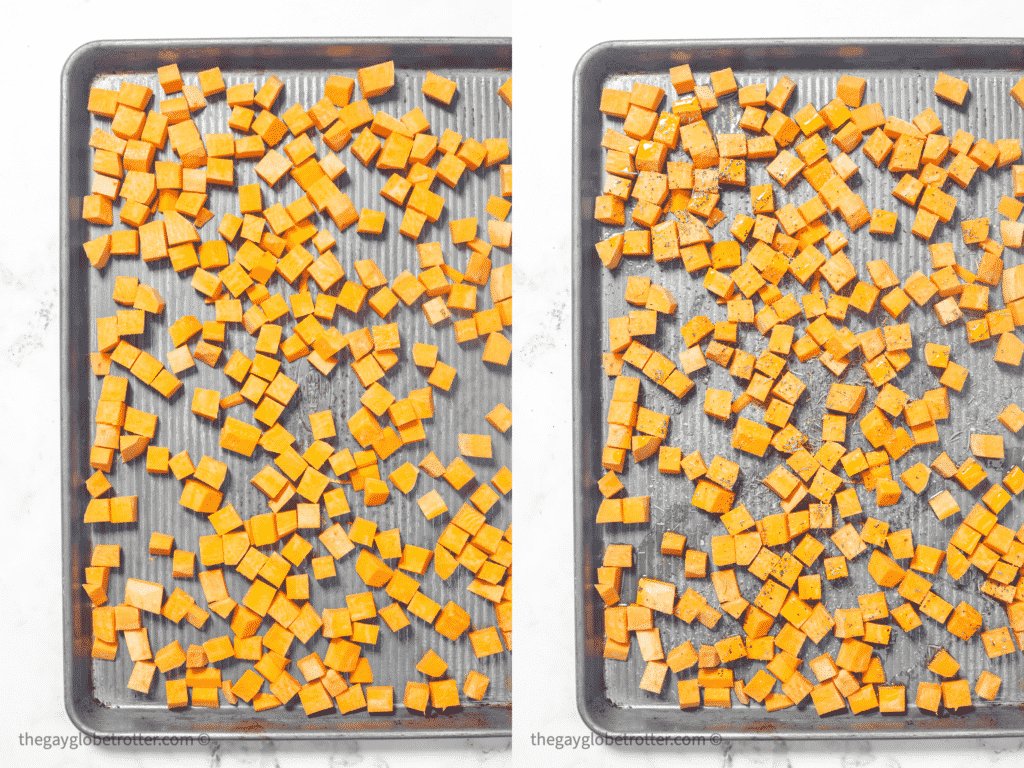 Two baking sheets, one with raw sweet potato cubes and one with seasoned sweet potato cubes.