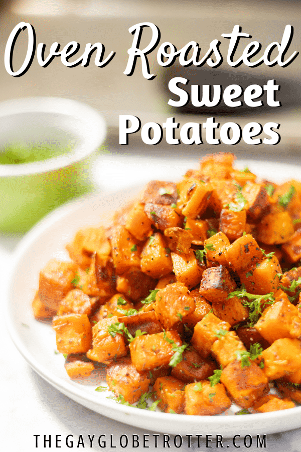 A serving plate of oven roasted sweet potatoes.