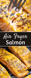 Two images of air fryer salmon with text overlay.