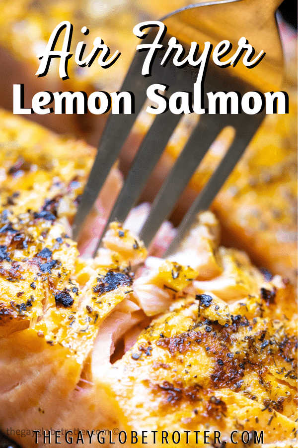 A fork digging into salmon with text overlay.