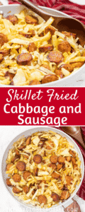 A pan of cabbage and sausage with text overlay.