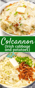 A collage of colcannon pictures with text overlay.