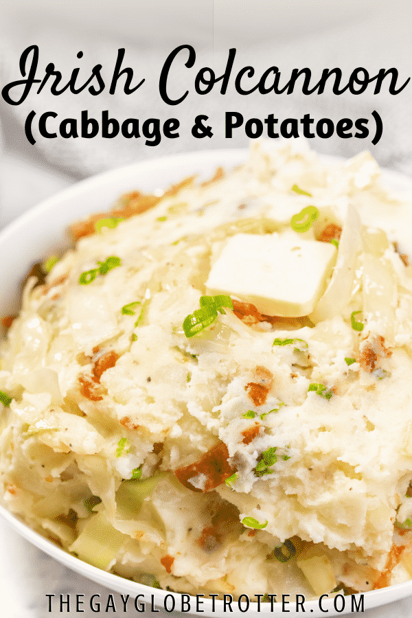 Colcannon topped with butter with text overlay.
