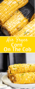 Two images of corn on the cob with text overlay.