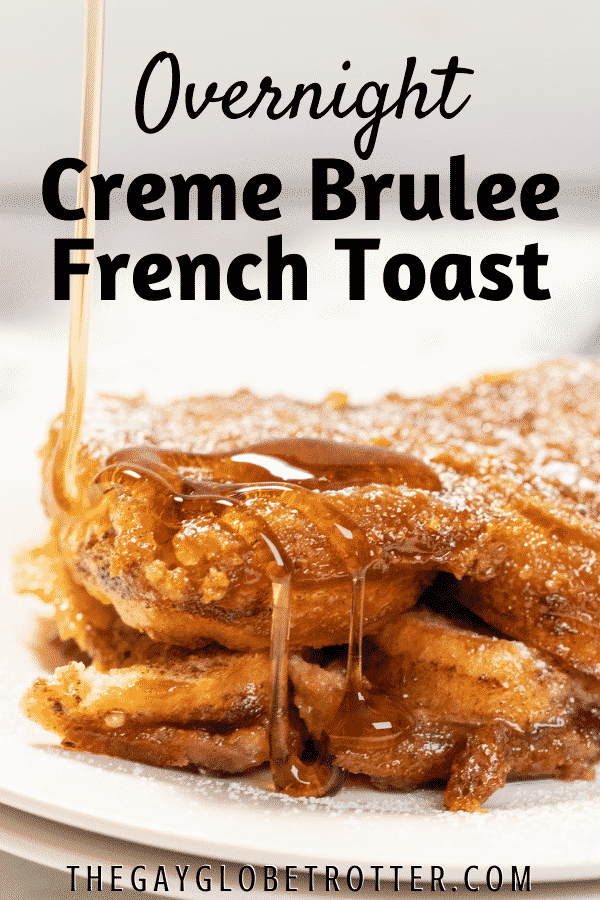 Syrup over french toast with text overlay.