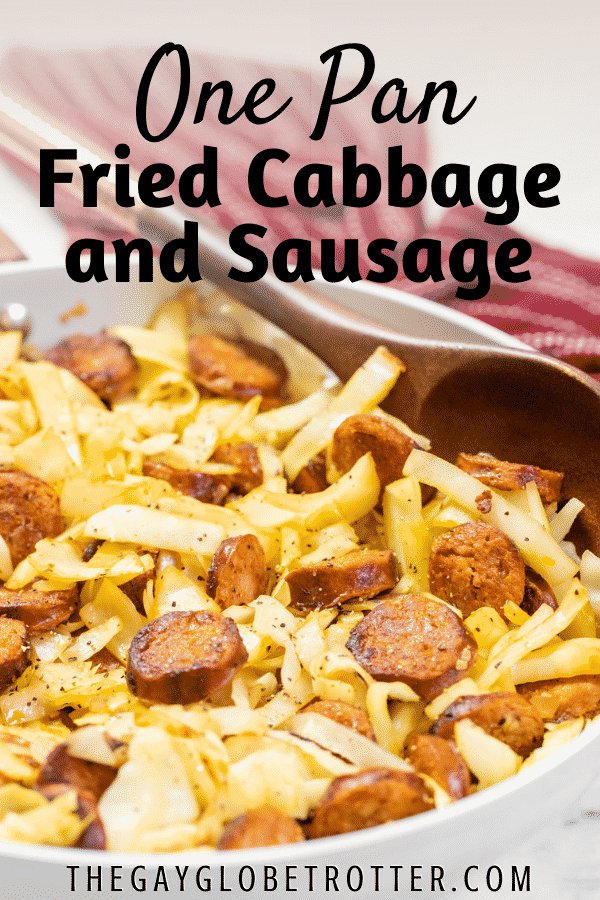 Cabbage and sausage in a pan with text overlay.