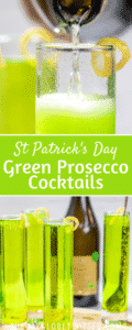 Green prosecco cocktails with text overlay.