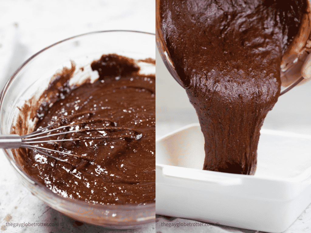 Brownie batter being poured into a baking dish.