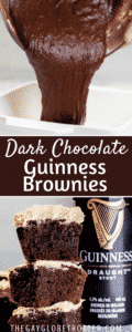 Two images of brownies with text overlay.