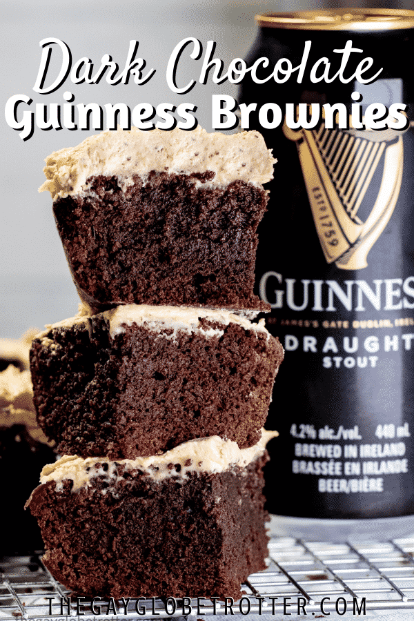 Brownies stacked next to a can of Guinness with text overlay.