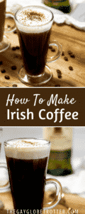 A collage of pictures of Irish coffee with text overlay.