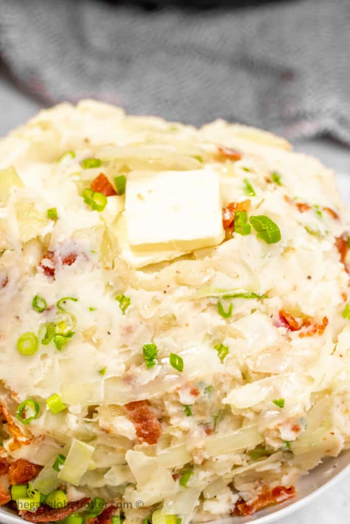 Colcannon topped with butter.