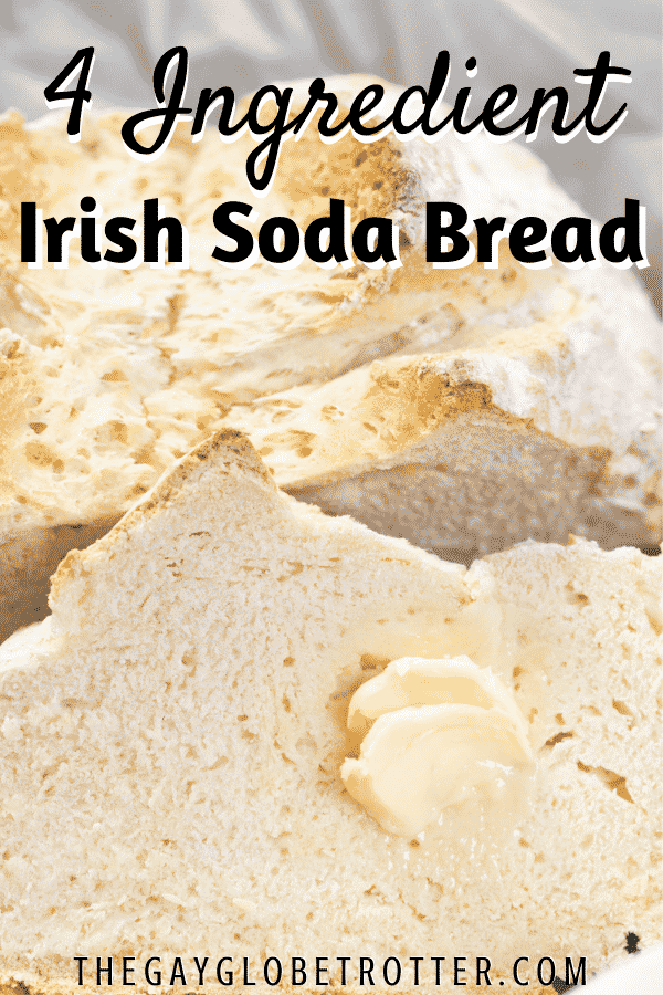 Irish soda bread with butter spread and text overlay.